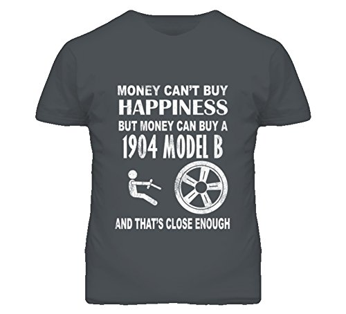 Money Cant Buy Happiness 1904 Cadillac Model B Dark Distressed T Shirt S Charcoal Grey