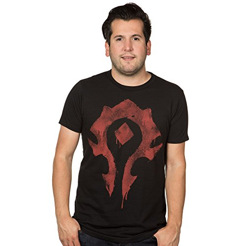 World of Warcraft Horde Symbol Spray Men's T-Shirt, Charcoal/Black, Large
