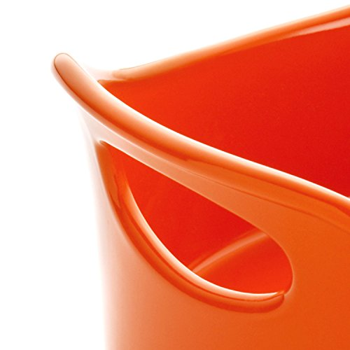 Rachael Ray Stoneware 4.25-Quart Covered Bubble and Brown Casseroval Casserole, Orange
