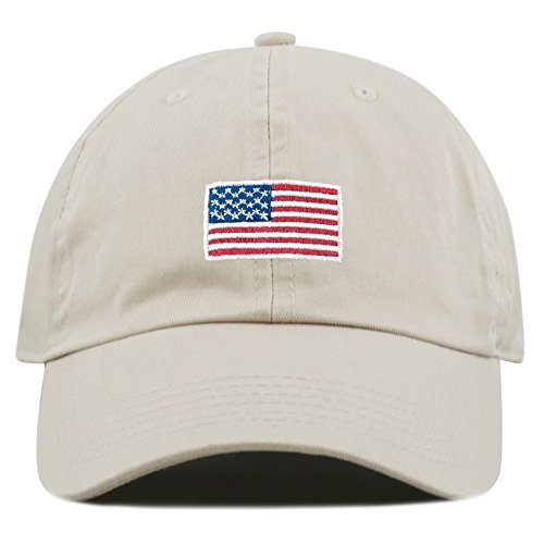 The Hat Depot Washed 100% Cotton America Flag Low Profile Adjustable Strap Baseball Cap Hat (Flag-Putty) ()