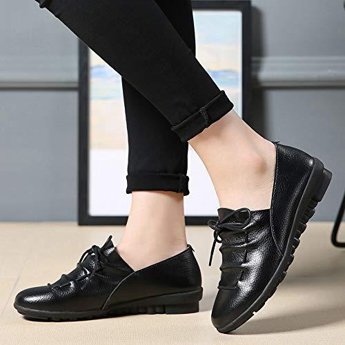 Lace Ankle Shoes Leather Up Loafers Single Flat Women Color Round Soft Non Ladies Black Toe Leisure Slip Pure qzfx77wX