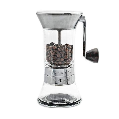 Handground Precision Manual Coffee Grinder: Conical Ceramic Burr Mill - Brushed Nickel
