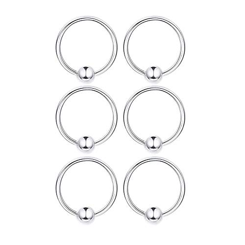 3 Pairs 10mm Sterling Silver Small Hoop Earrings Set 14K White Gold Plated Ball Bead Hoop Cartilage Earrings Helix Tragus Lip Nose Body Piercing for Women Men Girls
