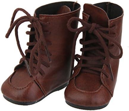 T TOOYFUL ヴィンテージ ブーツ 靴 PUレザー 18インチ ドール服 ギフト 茶色