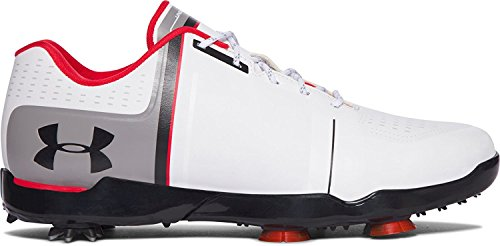 Under Armour Jordan Spieth One Junior Golf Shoes (4 Big Kid M, White/Black/Red)