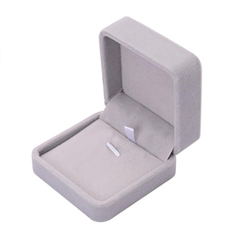 Doinshop Velvet Jewelry Gift Box Case (For Necklace/ Earrings | Gray) (High Fashion Necklace Gift Box)
