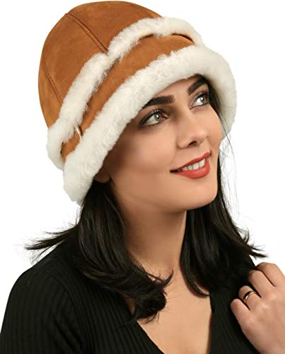 Zavelio Women's Shearling Sheepskin Winter Fur Bucket Beanie Hat Cognac L