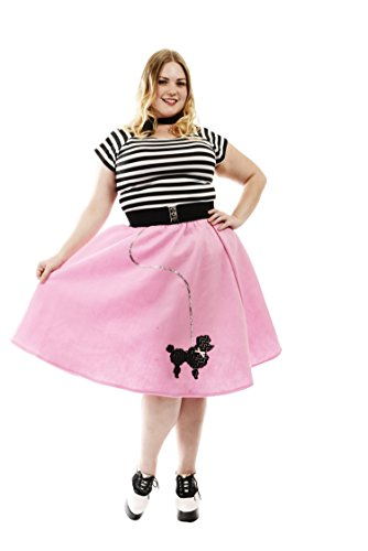 Charades Women's Plus Size Poodle Skirt Costume with Elastic Waistband, Pink, 3X