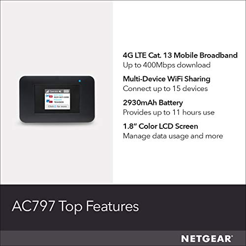 NETGEAR Mobile WiFi Hotspot | 4G LTE Router AC797-100NAS | 400Mbps Download Speed | Connect up to 15 Devices | Create a WLAN Anywhere | GSM Unlocked