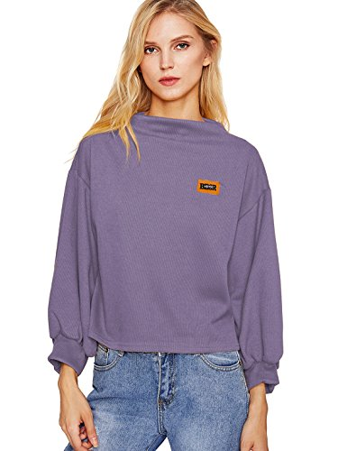 weatshirt Long Sleeve Patch Blouse Loose Sweater Shirt Purple One size (High Neck Sweatshirt)