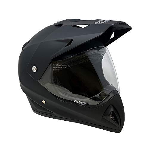 MMG Helmet Dual Sport Off Road Motorcycle Dirt Bike ATV - FlipUp Visor - 27V Matte Black (XX-Large)