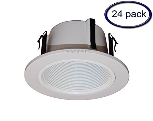 Phenolic Baffle Trim (24 Pack---4 Inch Phenolic Stepped Baffle Trim for Recessed Lighting-white Replaces Halo 993w)