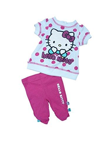 Hello Kitty Infant Girls White Pink Polka Dot 2 Piece Capri Legging Outfit 3-6m