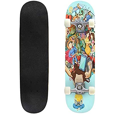 Classic Concave Skateboard Vector Illustration of Dream and Thought of Teenage boy Longboard Maple Deck Extreme Sports and Outdoors Double Kick Trick for Beginners and Professionals : Sports & Outdoors