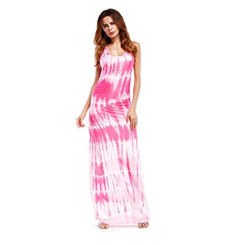 TOTOD Dress - Womens Sleeveless Bohemian Tie-Dye Illusion Print Racerback Long Tank Beach Dress Pink