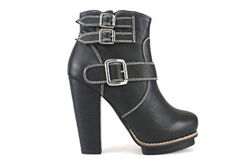 Schuhe Damen JEFFREY CAMPBELL Stiefeletten Schwarz Leder AK873