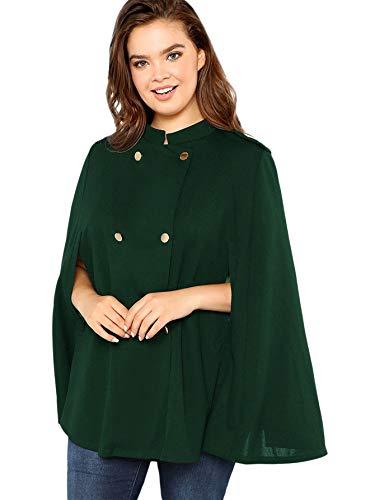 MAKEMECHIC Women's Double Button Cloak Sleeve Elegant Cape Mock Poncho Classy Coat Green 3XL (For Cape Hooded Women)