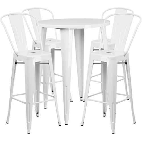 Flash Furniture 30'' Round White Metal Indoor-Outdoor Bar Table Set with 4 Cafe Stools ()