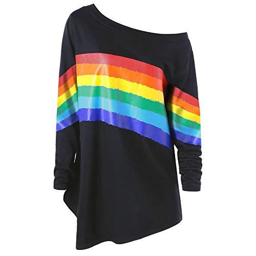 - Sweatshirt,Toimoth Women Casual Loose Long Sleeve Rainbow Print Pullover Blouse Shirts (XL, BlackB)