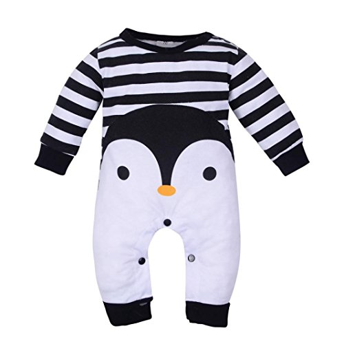 Sunbona Toddler Newborn Baby Boys Girls Cartoon Pajamas Cosplay Costume Winter Warm Romper Outfits Clothes (0~3months, Black)]()