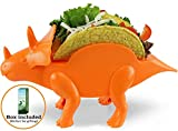Triceratops Taco Holder - Dinosaur (Holds 2 Tacos!) Orange Color - for Jurassic & Taco Tuesdays and Parties - Perfect Gift for Kid Taco Lovers - Perfect for Kids AND Adults GrubKeepers by PENKO