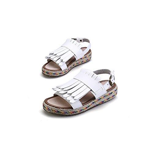 Cheville Femme Mode Blanc Plateforme Frange Plate Sandales rPqxpPF