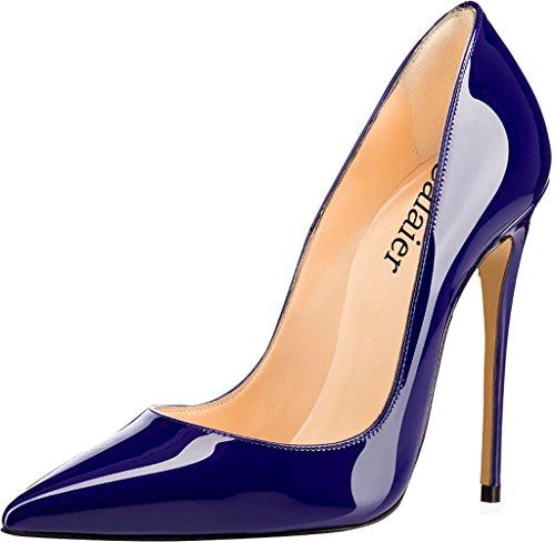 De Tacón Aguja Tacón Sintético Ponerse Azul Cahen Zapatos Calaier 12CM Mujer de 1HqnpxAwB