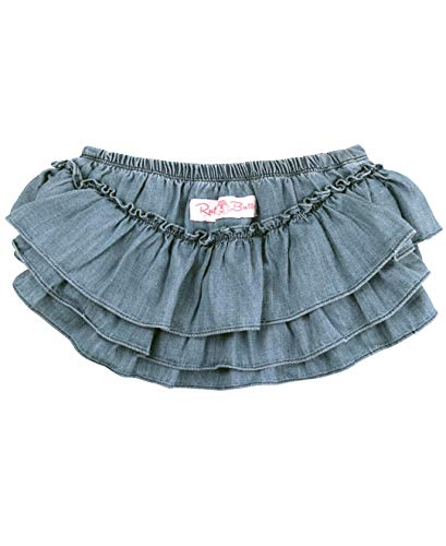 RuffleButts Baby/Toddler Girls Light Wash Denim Skirted Bloomer - 18-24m (Denim Diaper Cover)