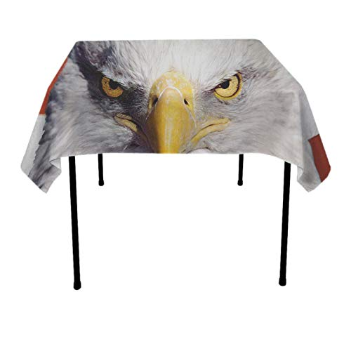 (GOAEACH Premium Waterproof Tablecovers, Square & Rectangular 3D Print Bald Eagle and American Flag Table Cover, Dust-Proof Stain Resistant Table Toppers - Dinning Tabletop Decoration)