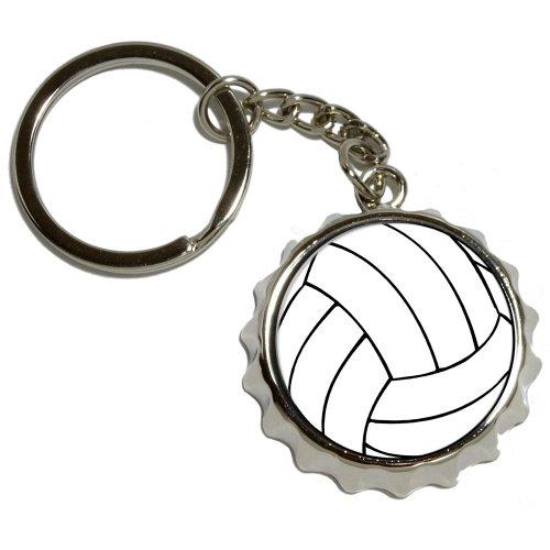 Volleyball - Nickel Plated Metal Popcap Bottle Opener Keychain Key Ring