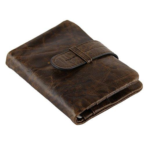 Stepack Soft Genuine Leather Men's Slim Wallet Card Holder Hasp Bifold Short Billfold (Vertical)