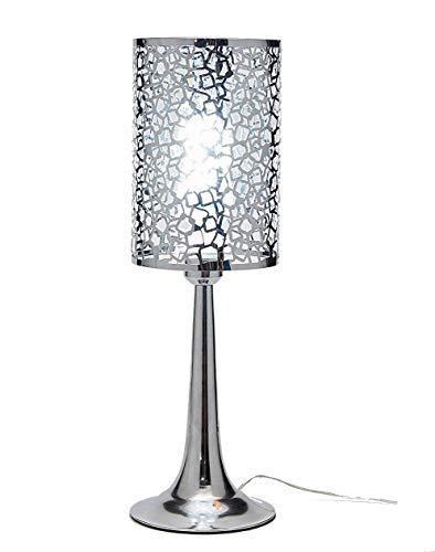 - Diamond Life Chrome Finish Metal Shade Table Lamp, 19-inch Tall