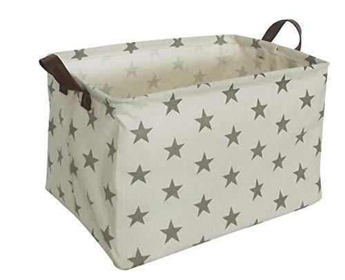 ESSME Rectangular Fabric Storage Box,Collapsible Storage Basket Bins Organizer with Handles for Kids Room,Shelf Basket,Toy Organizer (Grey Star)