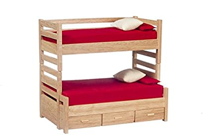 Buy Aztec Imports Dollhouse Miniature Oak Bunk Beds With Trundle