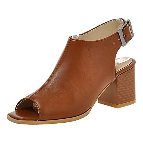 TAOFFEN Women's Block Heel Sandals Shoes Brown-51