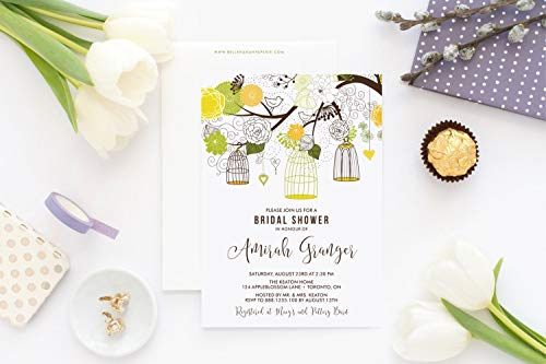 (Dozili Bridal Shower Invitation Yellow and Green Birdcages Floral Invitation Customizable to Any Event)