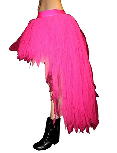 Neon UV Long 7 Layers Pointed Peacock Tutu Skirt (Neon Pink) (Adult Peacock Tutu)