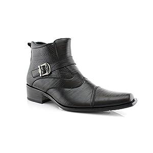 Delli Aldo Men's Ankle High Dress Boots | Buckle Strap | Shoes | Black 10.5