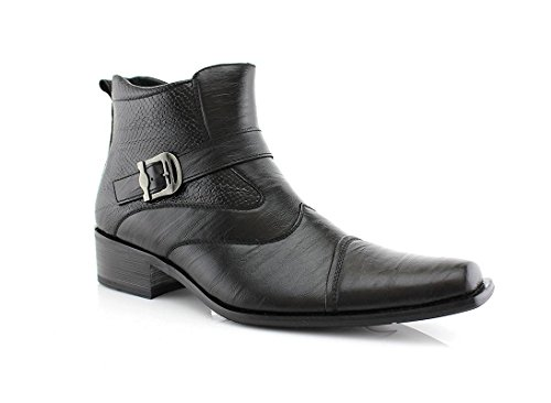 Delli Aldo Men's Ankle High Dress Boots | Buckle Strap | Shoes | Black (Leather Buckle Boot)