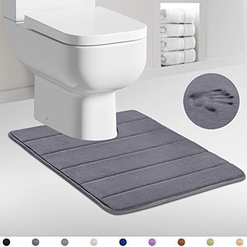Pazillo Memory Foam Toilet Rug, Super Water Absorbent Surface, Non Slip, Thick, Extra Soft and Comfortable, Machine…