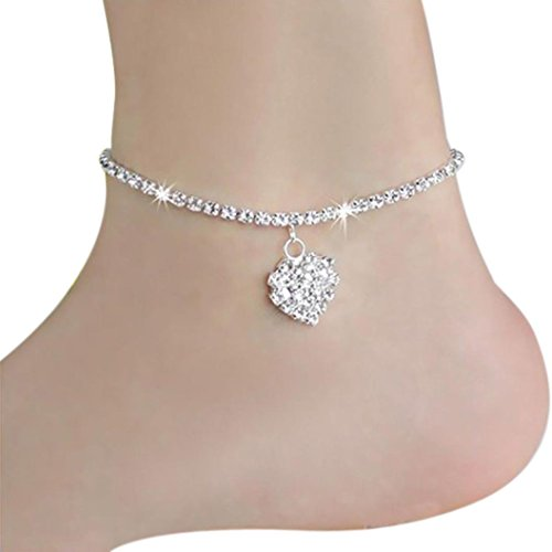 Aniywn New Style Trend Full Drill Love Heart Blingbling Pendant Decoration Anklets (Free Size, ()