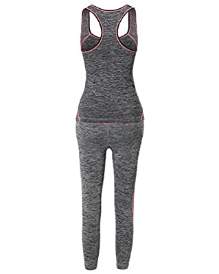 MBE Women's Sports Fitness Workout Training Set Top and Bottom Neon Trim