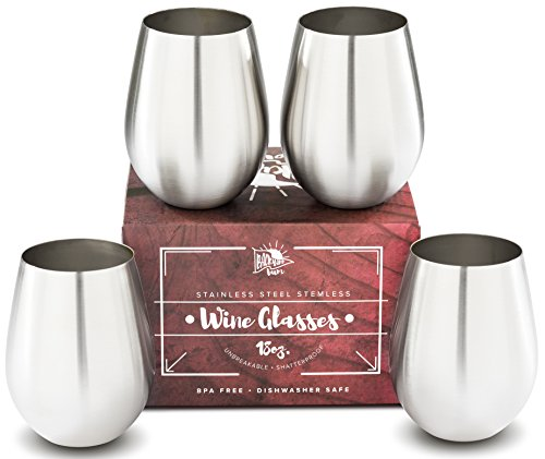 Premium Solid Stainless Steel Wine Glasses PLUS Recipe eBook | Stemless Wine Glass Set of 4, for Men and Women | Large 18 Ounce by Backyard Bum | Unbreakable and (Man Of Steel Glasses)