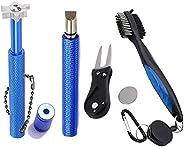 EDIONS Golf Club Cleaning Tool Set, Retractable Golf Club Brush and 2 Golf Club Groove Sharpener for U & V