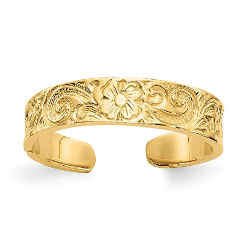 - 14k Yellow Gold Flower/scroll Adjustable Cute Toe Ring Set Fine Jewelry Gifts For Women For Her