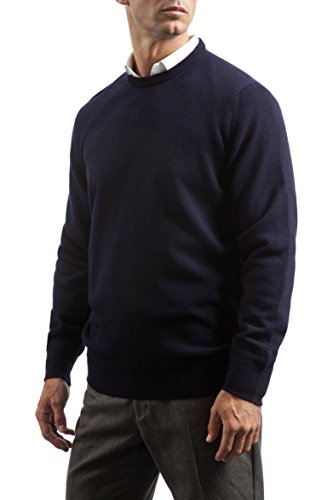 Great and British Knitwear Men's 100% Lambswool Plain Crew Neck Sweater. Made In Scotland-Scots (Lambswool Crew Neck Sweater)