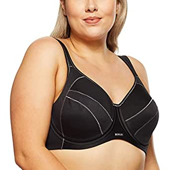 Berlei Women's Underwear Microfibre Full Support Non-Padded Sports Bra SF2, Black, 12DD
