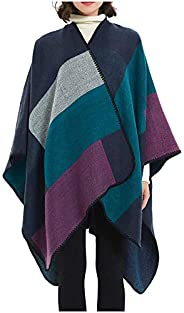 MissShorthair Women's Printed Shawl Wrap Fashionable Open Front Poncho