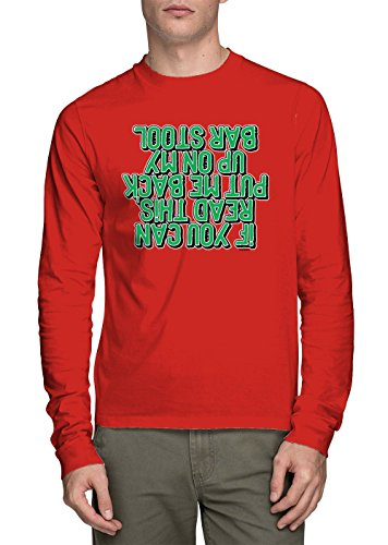 Long Sleeve Men's If You Can Read This Put Me On The Barstool Shirt (Red, (Red Irish Bar Stools)