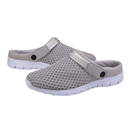 Hzjundasi Unisex Men Women Summer Breathable Mesh Net Cloth Slippers,Beach Hollow Out Sandals Anti-Slip House Shoes Outdoor Sport Gray